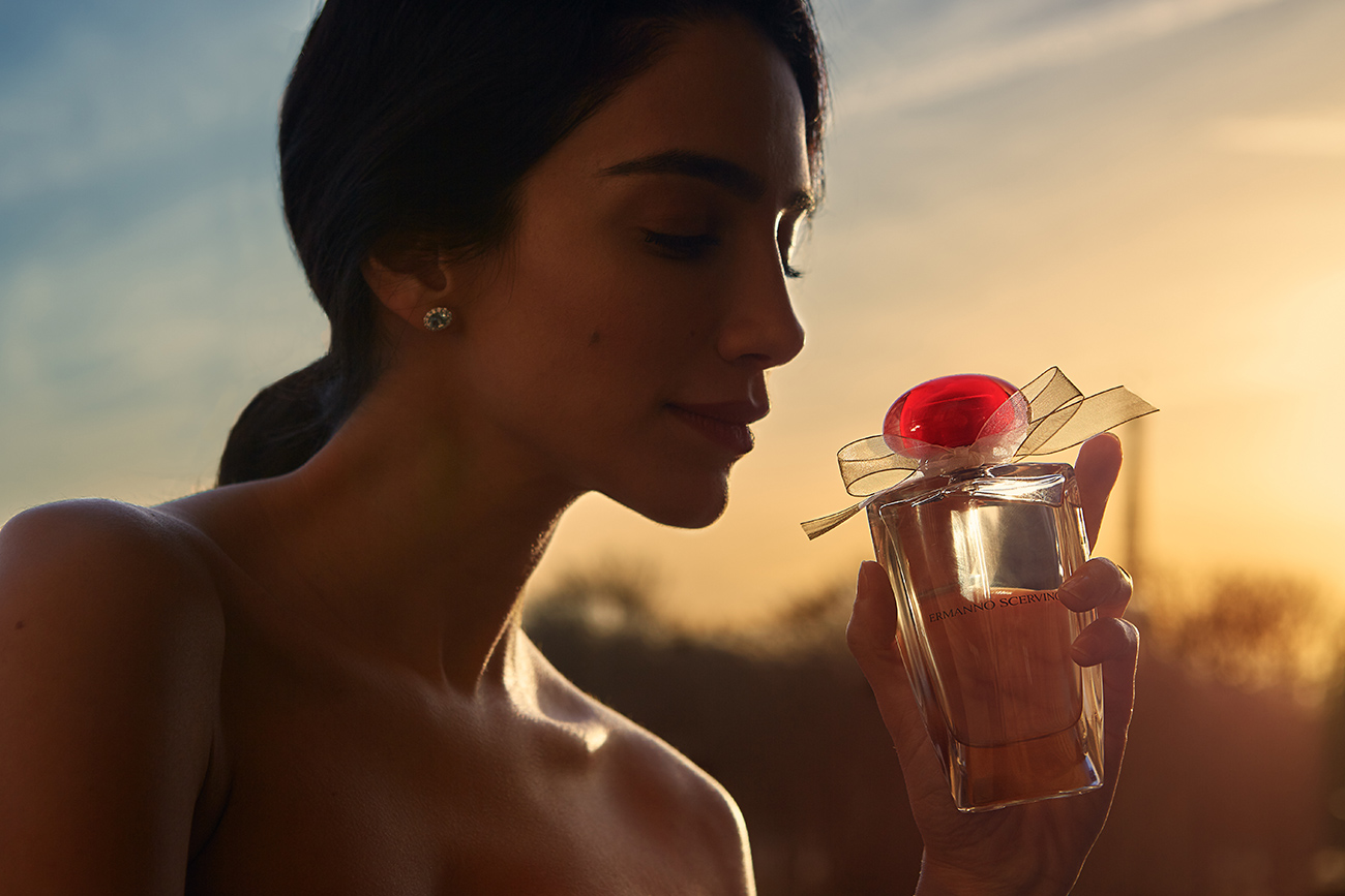Jessica Kahawathy photographed by David Hatters for the new 2019 Ermanno Scervino Fragrance